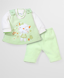 Babyhug Full Sleeves Three Pieces Set Embroidery - Green