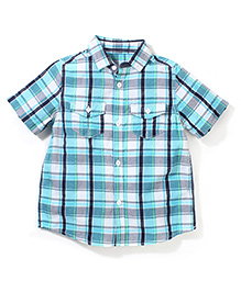 Mothercare Short Sleeves Checks Shirt - Sky Blue