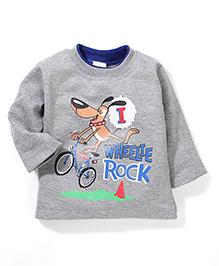 Babyhug Full Sleeves T-Shirt Graphic Print - Blue Grey