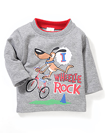 Babyhug Full Sleeves T-Shirt Graphic Print - Red Grey