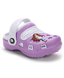 Cute Walk Clogs With Back Strap And Motif - Purple White