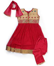 Babyhug Kurti Churidar With Dupatta Floral Embroidery - Red Golden