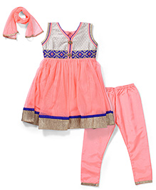 Babyhug Kurta and Churidar Set with Duppatta - Peach