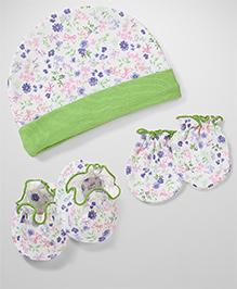 Babyhug Floral Print Cap Booties & Mittens  Set - White & Green