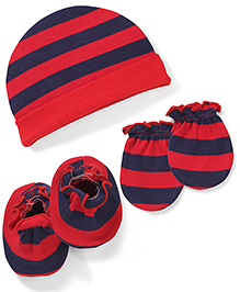 Babyhug Striped Caps Booties & Mittens Set - Red & Navy Blue