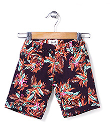 Pinehill Shorts Leaves Print - Purple And Brown