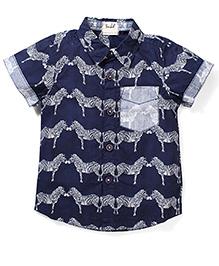 Pinehill Zebra Printed Half Shirt - Navy Blue