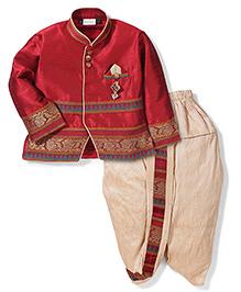 Babyhug Full Sleeves Kurta And Dhoti - Maroon And Cream