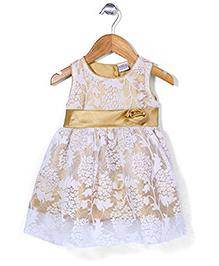 Babyhug Sleeveless Party Wear Frock Floral Applique - Golden White