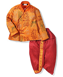 Babyhug Full Sleeves Thread Embroidered Kurta And Dhoti - Yellow & Maroon