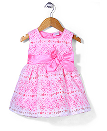 Babyhug Sleeveless Party Wear Frock Bow Applique - Pink