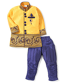 Babyhug Full Sleeves Kurta And Jodhpuri Breeches - Yellow & Royal Blue