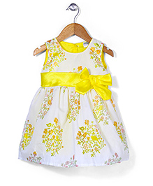 Babyhug Sleeveless Party Wear Frock Bow Applique - Yellow