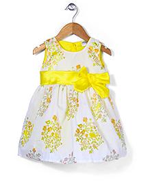 Babyhug Sleeveless Party Wear Frock Bow Applique - Yellow