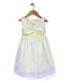 Babyhug Sleeveless Party Wear Frock Floral Applique - Light Yellow