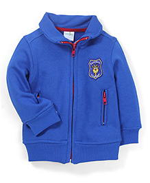 Babyhug Full Sleeves Sweat Jacket Logo Patch - Blue