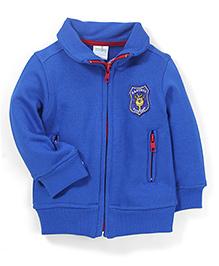 Babyhug Full Sleeves Sweat Jacket Logo Patch - Blue