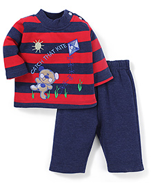 Babyhug Full Sleeves T-Shirt And Pant Embroidery - Red Navy