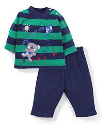 Babyhug Full Sleeves T-Shirt And Pant Embroidery - Green Navy