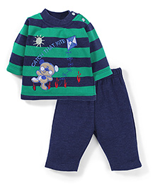 Babyhug Full Sleeves T-Shirt And Pant Embroidery - Green Navy