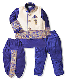Babyhug Kurta Jacket Dhoti And Jodhpuri Breeches - Blue & Cream