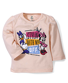Disney by Babyhug Daisy Duck & Minnie Print Top - Light Peach