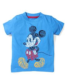 Disney by Babyhug Mickey Print T-Shirt - Sky Blue