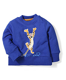 Disney by Babyhug Full Sleeves Tiger Print Sweat T-Shirt - Royal Blue