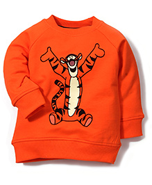 Disney by Babyhug Full Sleeves Tiger Print Sweat T-Shirt - Orange