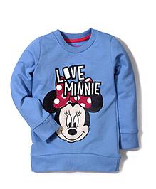 Disney by Babyhug Full Sleeves Minnie & Caption Print Sweat T-Shirt - Blue