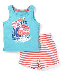 Mothercare Sleeveless Vest And Shorts Big Surf Print - Aqua & Orange