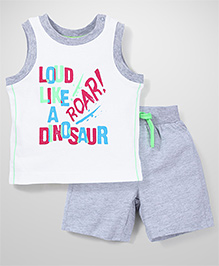 Mothercare Sleeveless Vest And Shorts Set Dinosaur Print - White & Grey