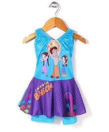Chhota Bheem Frock Style Swim Wear - Blue & Purple