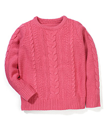 Mothercare Full Sleeves Cable Knit Sweater - Pink