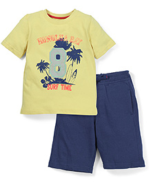 Mothercare Half Sleeves T-Shirt And Shorts Surf Time Print - Yellow & Navy