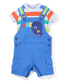 Mothercare Onesies With Dungaree Style Romper - Blue & Green