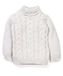 Mothercare Full Sleeves Roll Neck Knitted Sweater - Off White