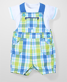 Mothercare Onesies With Dungaree Style Romper Checks - White And Green