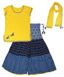 April Daisy by Nehal Mehta Palazzo Tunic Set - Yellow & Blue