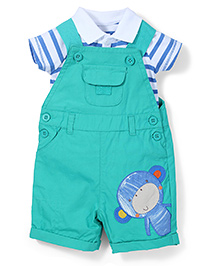 Mothercare Polo Onesies With Dungaree Style Romper - Dark Sea Green