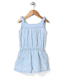 Mothercare Sleeveless Floral Chambray Jumpsuit - Light Blue