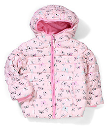 Mothercare Full Sleeves Hooded Jacket Butterfly Print - Pink