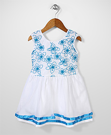 Babyhug Sleeveless Frock Floral Print - White And Aqua