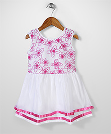Babyhug Sleeveless Frock Floral Print - White And Pink