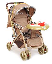 Musical Pram Cum Stroller With Canopy - Brown