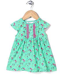 Beebay Cap Sleeves Frock Floral Print - Green