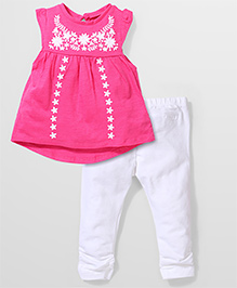 Mothercare Embroidered Top And Legging - Pink
