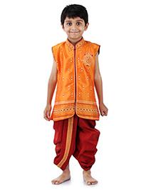 Babyhug Sleeveless Embroidered Kurta And Dhoti - Gold & Maroon