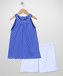 Mothercare Sleeveless Top And Shorts Polka Dots - Blue And White
