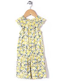 Mothercare Short Sleeves Allover Print Jumpsuit - Lemon Yellow